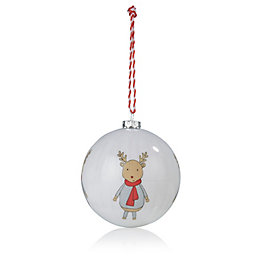 Red & Cream Reindeer Bauble