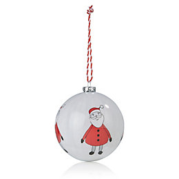 Red & Cream Santa Bauble