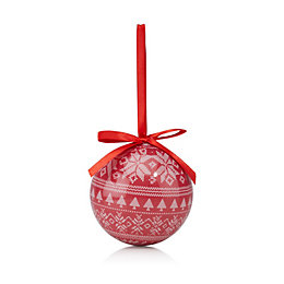 Red & Cream Skandi Print Bauble