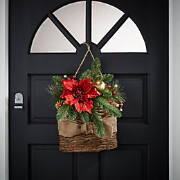 Poinsettia Christmas Basket Wreath, (L)58cm