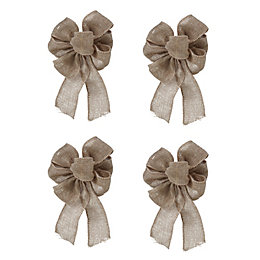 Hessian Natural Bows Tree Decoration, Pack of 4