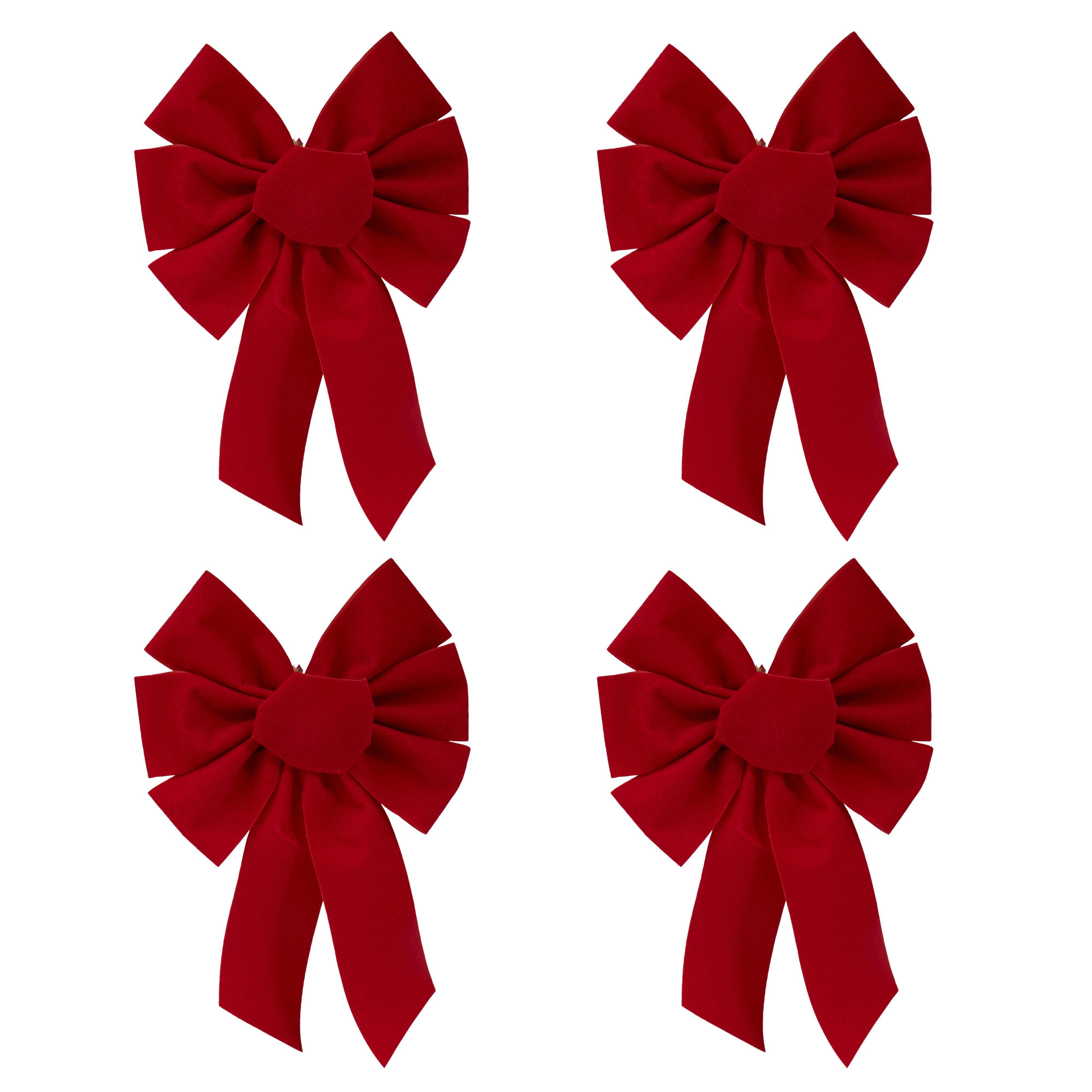 Velvet Effect Red Bows Tree Decoration, Pack Of 4