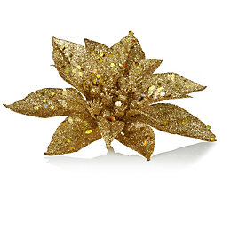 Glitter Gold Poinsettia Tree Decoration