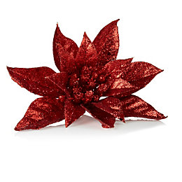 Glitter Red Poinsettia Tree Decoration