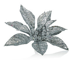 Glitter Silver Poinsettia Tree Decoration
