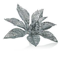 Glitter Silver Poinsettia Tree Decoration
