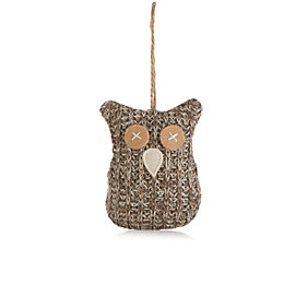 Knitted Grey Owl Tree Decoration