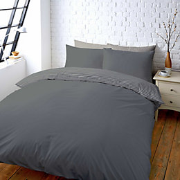 Colours Zen Plain & Striped Grey Double Bed