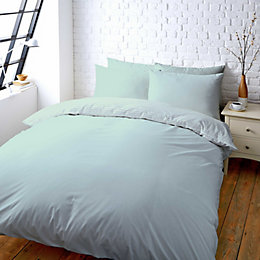 Colours Zen Plain & Striped Duck Egg Kingsize