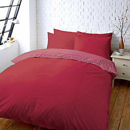 Colours Zen Plain & Striped Red Double Bed