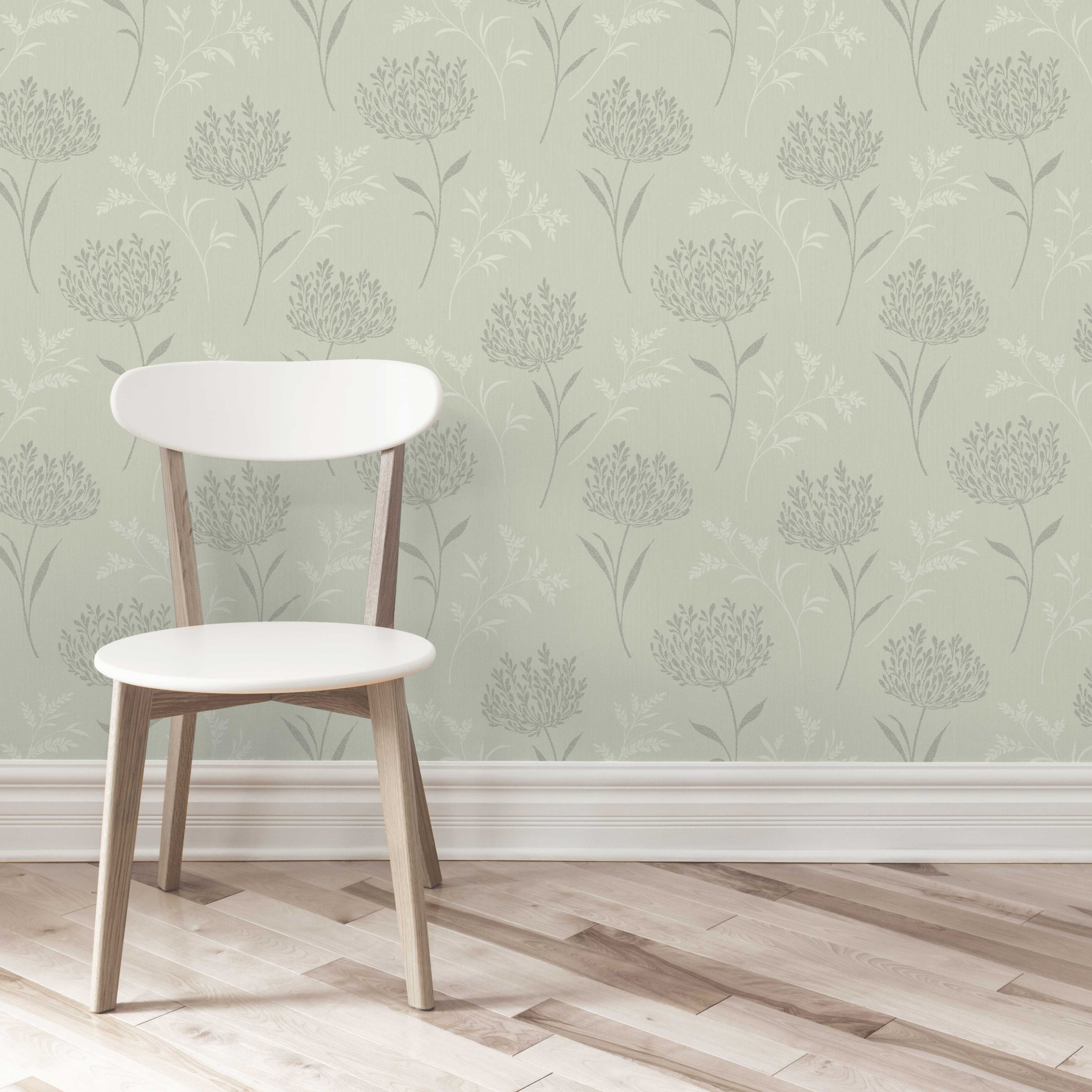 Agapanthus Green Floral Glitter Effect Wallpaper | Departments | DIY at B&Q