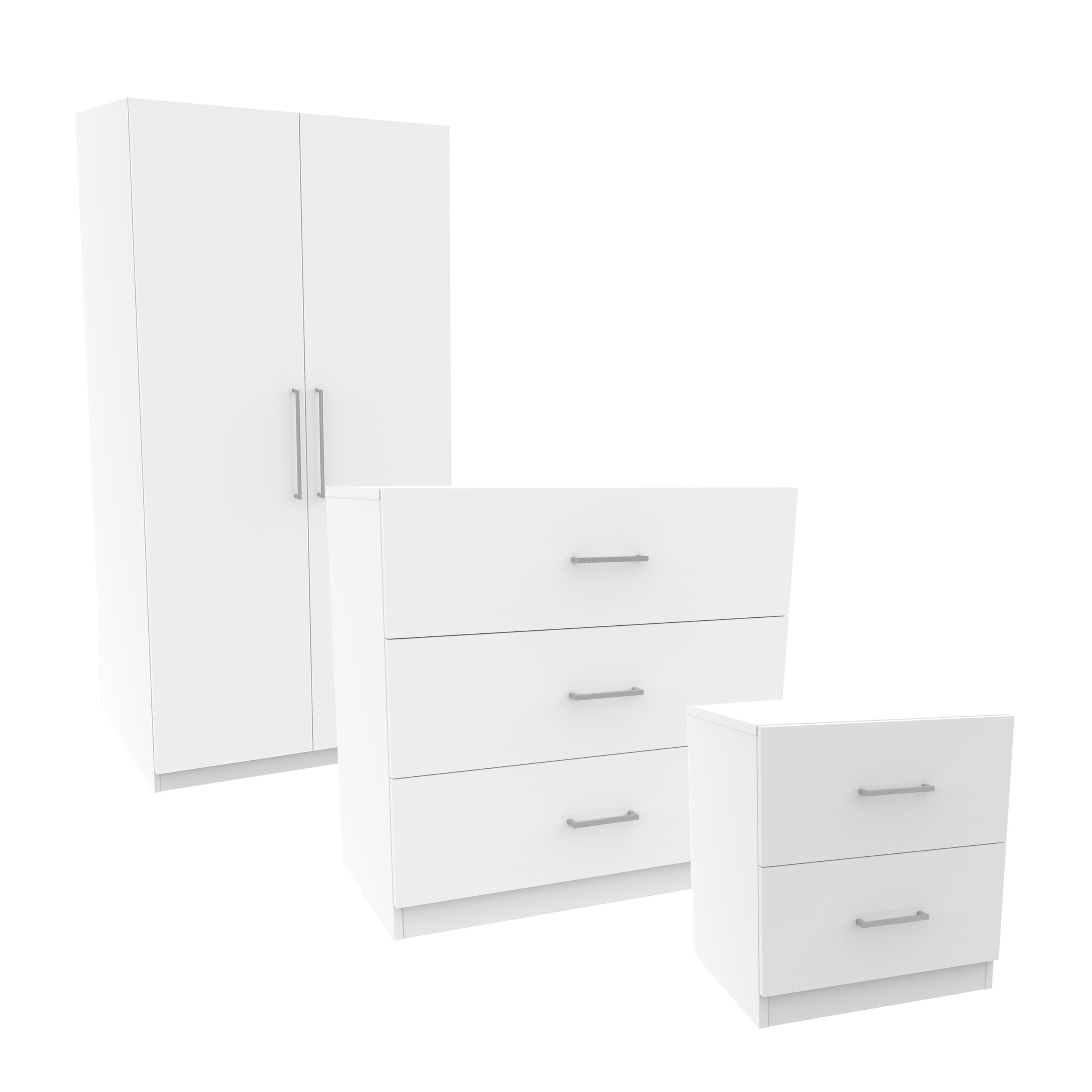Darwin White 3 Piece Bedroom Furniture Set