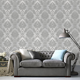 Silver Effect Silk Wallpaper