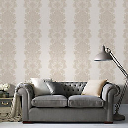 Cream & Gold Effect Grandeur Wallpaper
