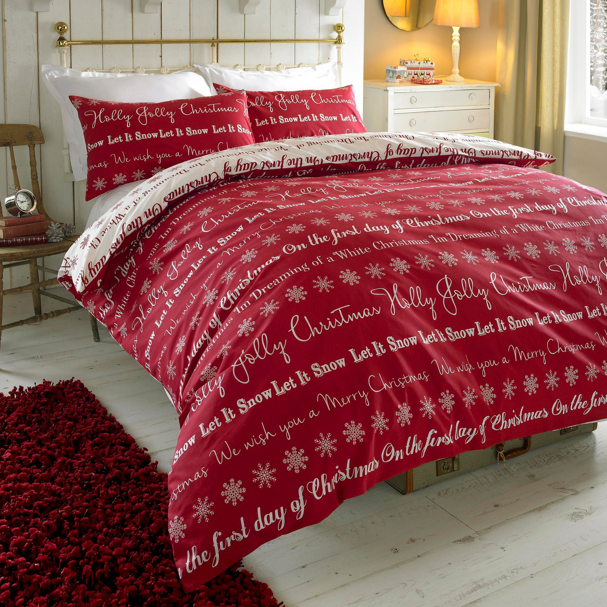 Colours Carol Festive Writing Red Double Bedset
