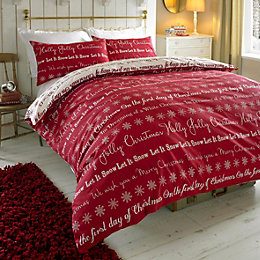 Colours Carol Festive Writing Red Double Bed Set
