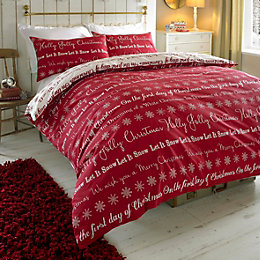 Colours Carol Festive Writing Red Kingsize Bed Set