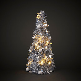 Silver Effect Battery Operated LED Tinsel Table Tree