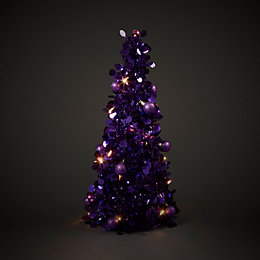 Purple Battery Operated LED Tinsel Table Tree