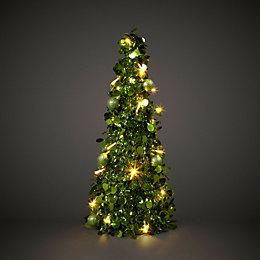Green Battery Operated LED Tinsel Table Tree