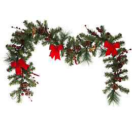Traditional Mixed Pine Green & Red Garland, (L)183cm