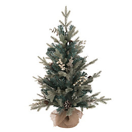 Winterfold Green & Silver Effect Table Top Tree,