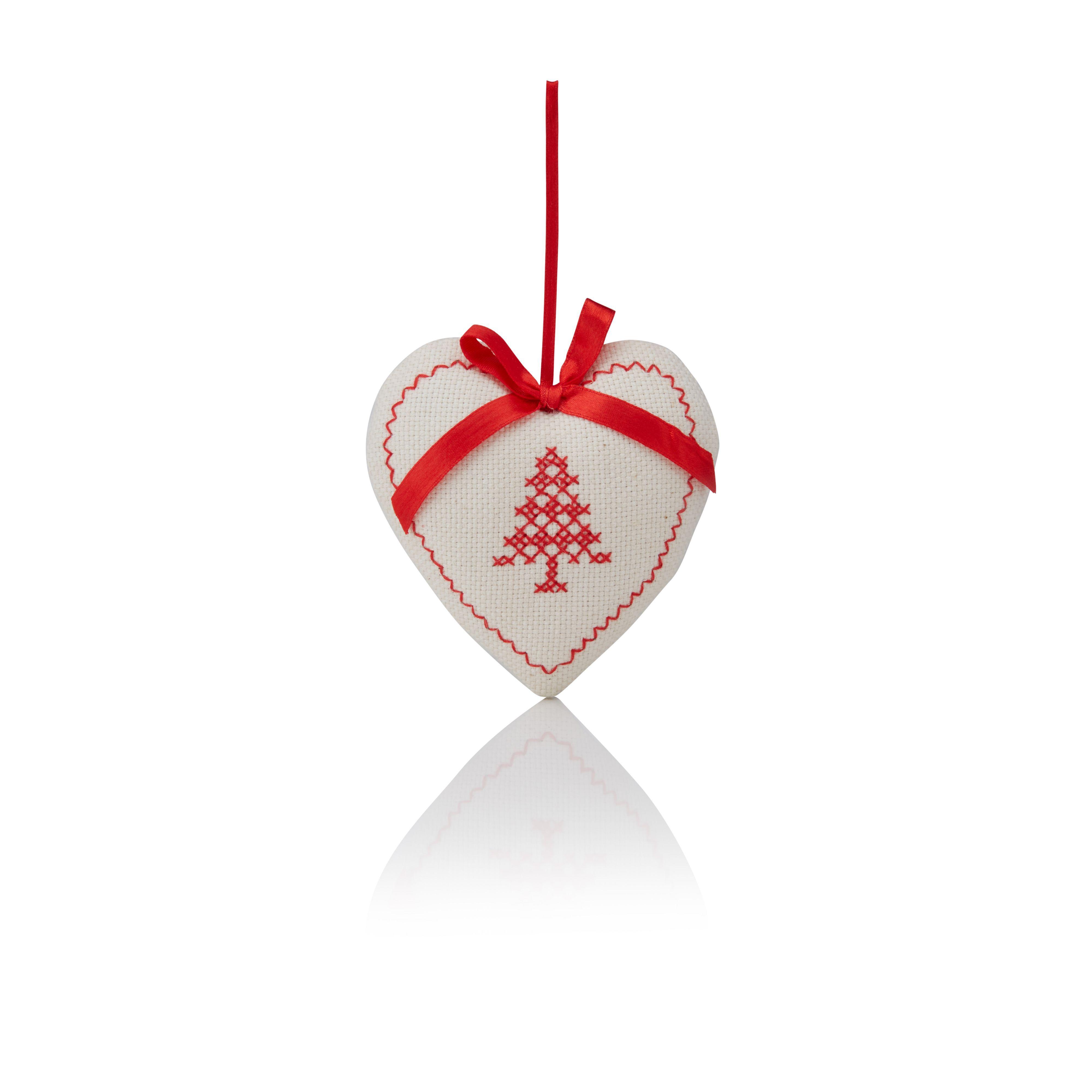 Cream & Red Heart Tree Decoration