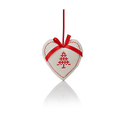 Cream & Red Heart Tree Decoration