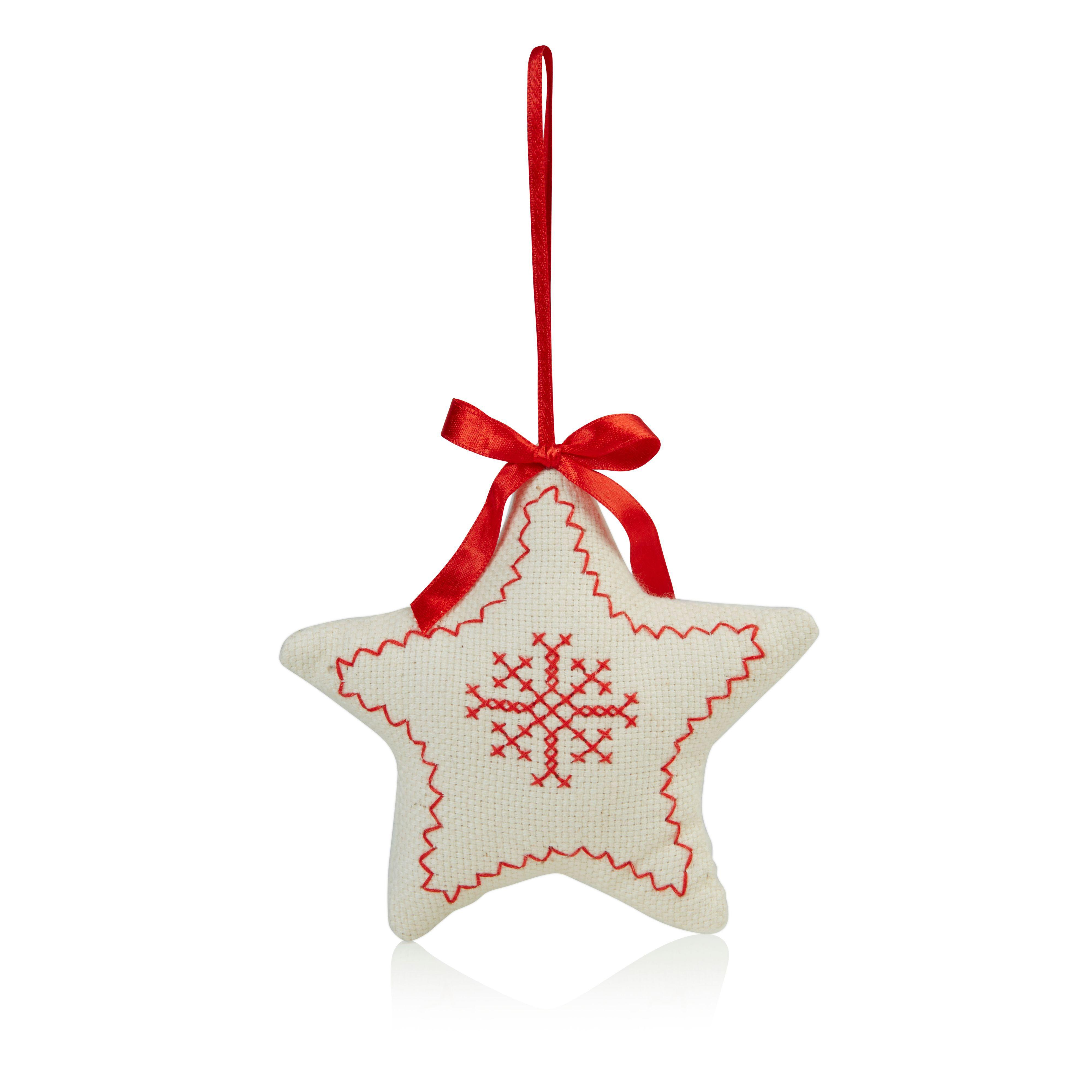 Cream & Red Star Tree Decoration
