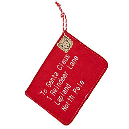 Felt Red Letter to Santa Envelope Tree Decoration