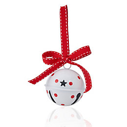White & Red Spot Bell Tree Decoration