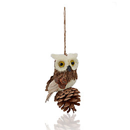 Rustic Natural Owl Tree Decoration