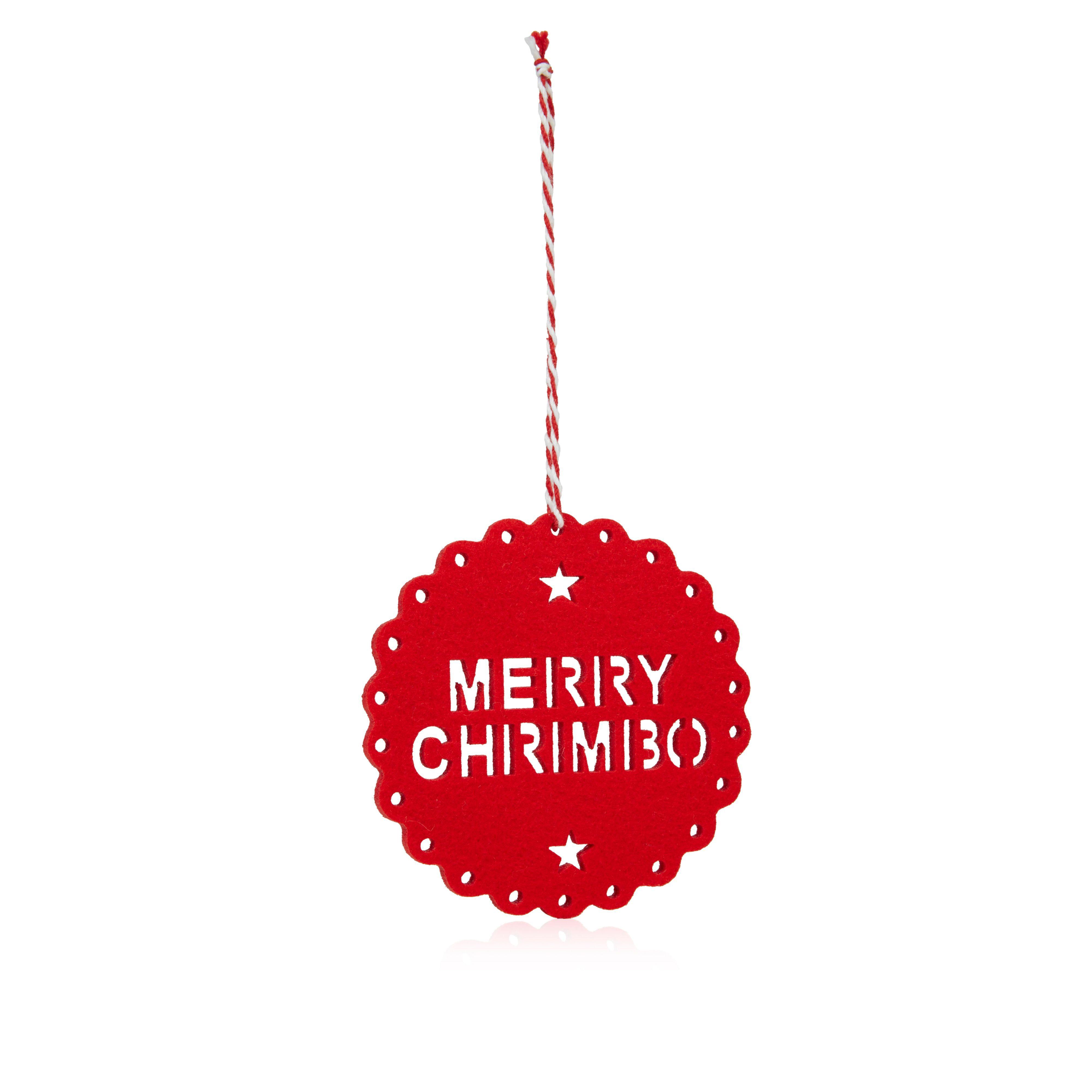 Felt Red Merry Chrimbo Tree Decoration