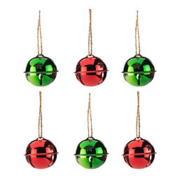 Green & Red Bell Tree Decoration, Pack of