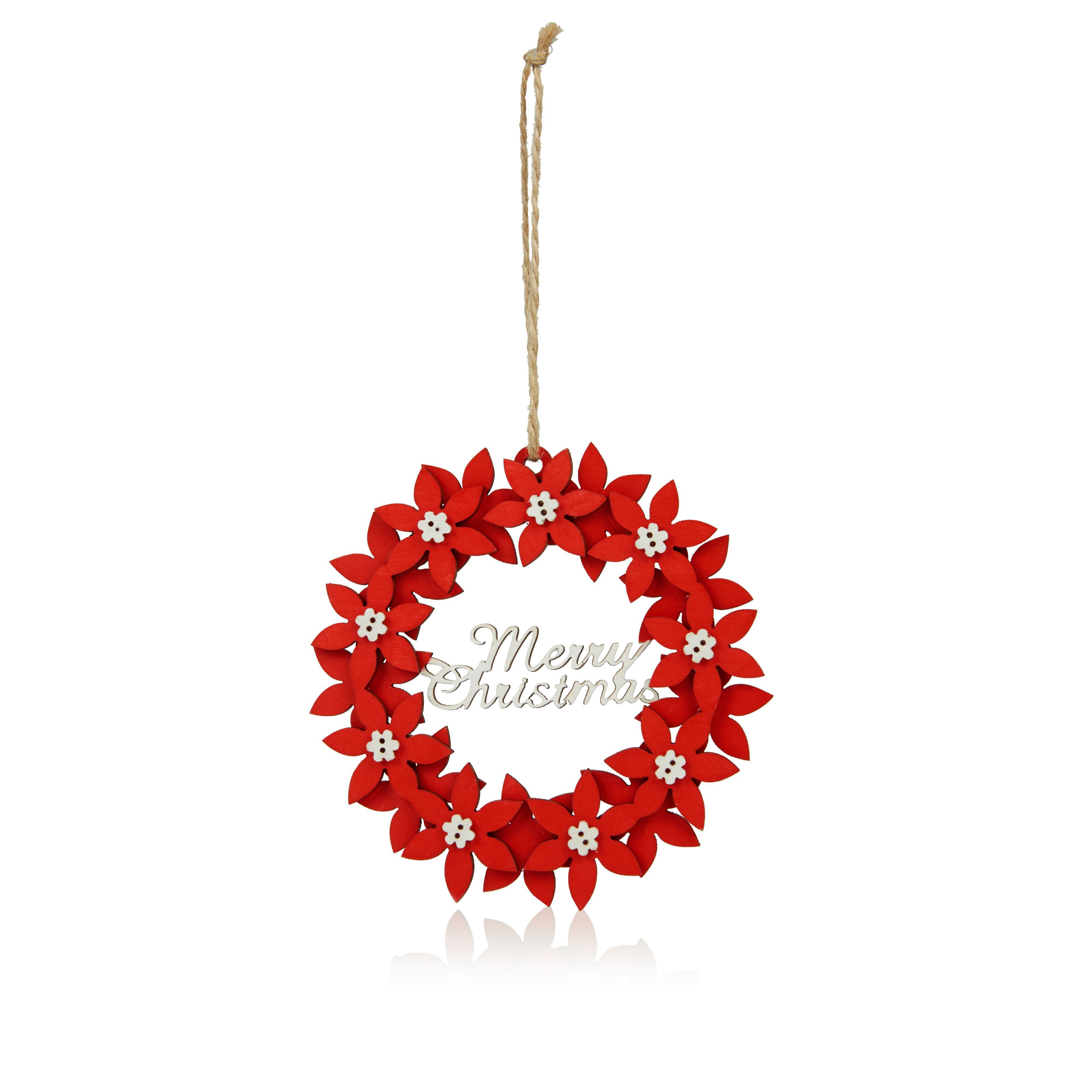 Red & White Poinsettia Merry Christmas Tree Decoration