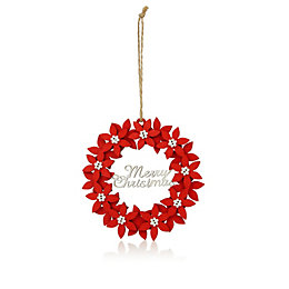 Red & White Poinsettia Merry Christmas Tree Decoration