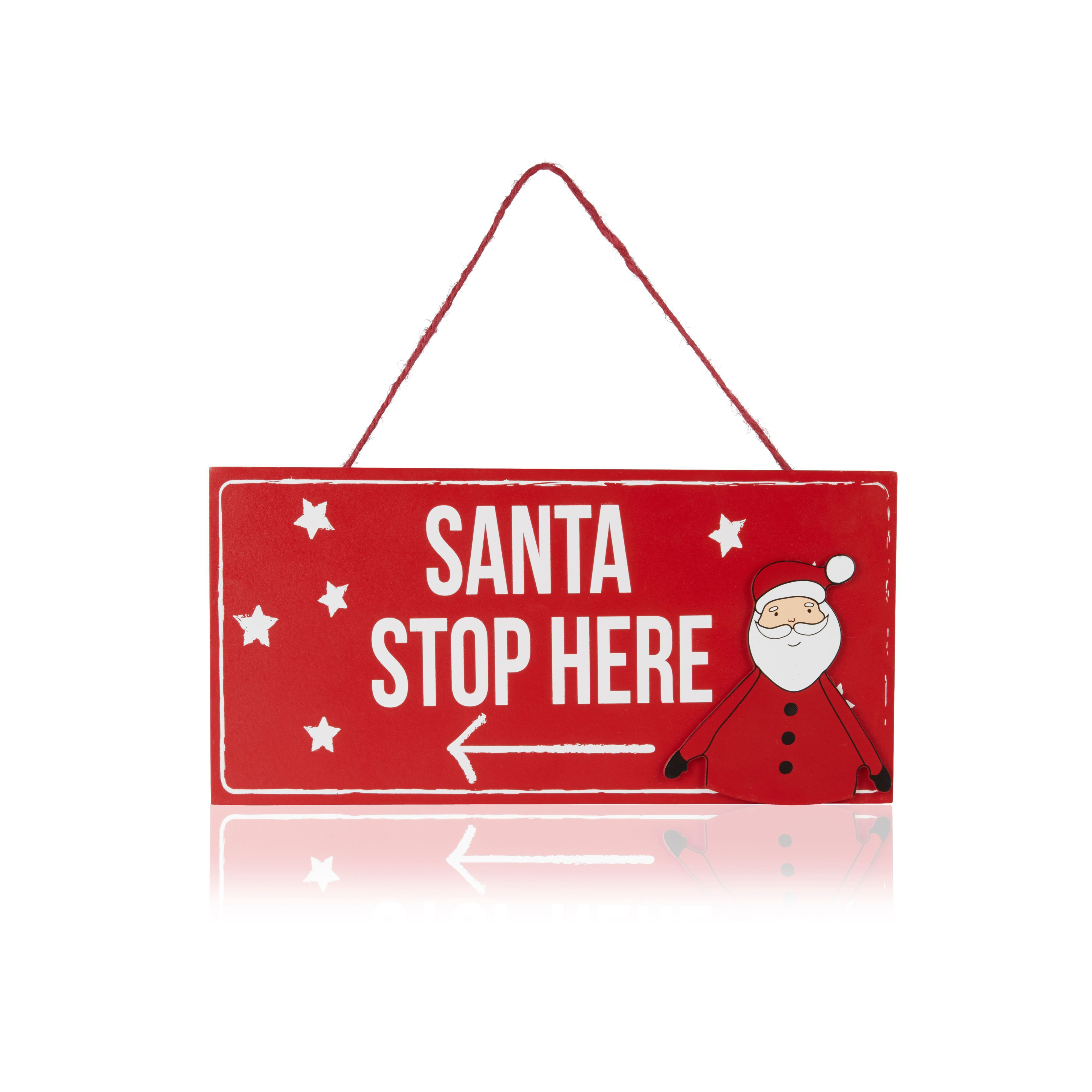 Red Santa Stop Here Plaque