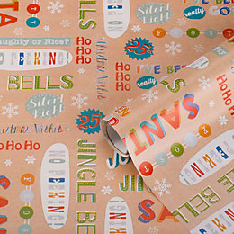 Bright Text Christmas Wrapping Paper, 70 cm x