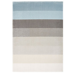 Colours Elsie Blue Stripe Rug (L)230cm (W)160cm