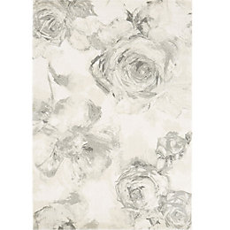 Colours Florelle Cream & Grey Floral Rug (L)230cm