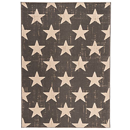 Colours Gianna Grey Vintage Star Rug (L)170cm (W)120cm