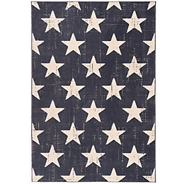 Colours Gianna Blue Vintage Star Rug (L)170cm (W)120cm