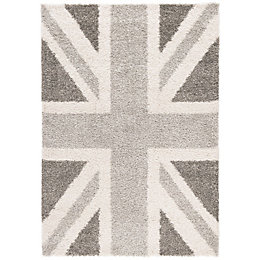 Colours Raegan Grey Union Jack Rug (L)170cm (W)120cm