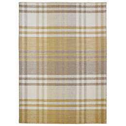 Colours Margurite Yellow & Natural Tartan Rug (L)230cm