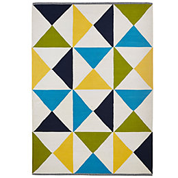 Colours Meghan Blue, Green & Yellow Geometric Rug