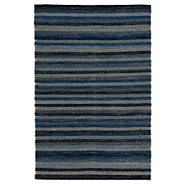 Colours Kaia Black & Blue Stripe Rug (L)170cm