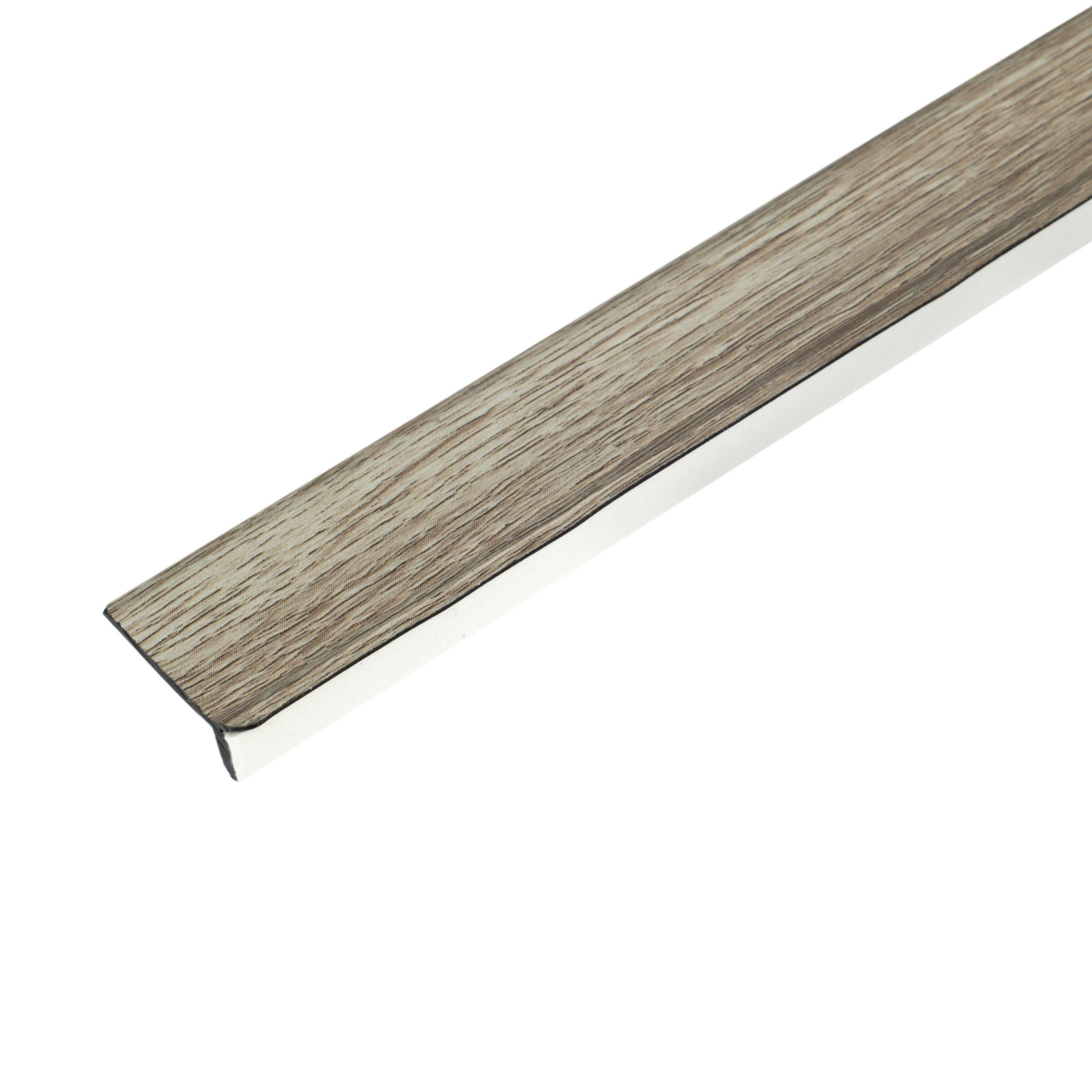 Colours toulon grey oak effect floor edge trim 2 x 2m for Floor edge trim