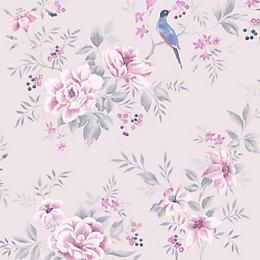 Colours Liora Purple Birds On Floral Trail Glitter