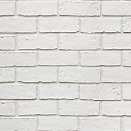 Colours White Faux Brick Textured Wallpaper