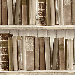 Colours Brown Bookcase Wallpaper